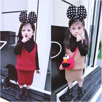 Wholesale 2016 cute beans winter new girl child skirt suit multicolor harness skirt
