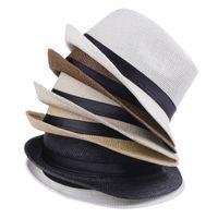 Wholesale Cheap Vogue Men Women Straw Hats Soft Fedora Panama Belt Hats Outdoor Stingy Brim Caps