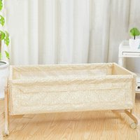 bassinet swing - Baby Crib Wheeled Rocking Swinging Bed Safety Newborn Infant Cradle Bassinet Wood Baby Bed with Mosquito Net