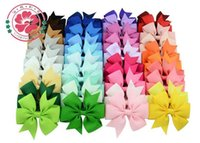 Wholesale 40 kinds of colors rib ribbon bowknot hair clips hair decorations of children European and American style duckbill clip made of cloth