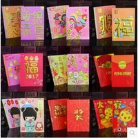 Wholesale 6 For Set Up To Cartoon Designs Chinese Rooster New Year Red Pack Spring Festival Red Envelope