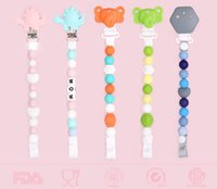 Wholesale Baby Pacifier Clips Bundle Silicone Teething Beaded Chain Anti out Nipple Chain Funny Pacifiers Holder with Dinosaur or Elephant clips