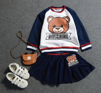 Cheap 2016 Fashion Children Girls Navy Bear Cartoon Long Sleeve Tops + Skirt Velvet Warm Winter Outfits Kids Thicken Set B4388