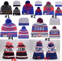 authentic baseball hats - Chicago Cubs Pom Beanies CUBS Baseball Club skull caps World Seris Champs Sport Team Knitted Skullies Authentic Brand Winter Hats