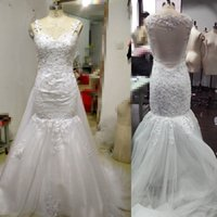 Wholesale 2017 Berta Real Image Lace Mermaid Wedding Dresses With Detachable Train Sweetheart Beaded Court Train Modest Bridal Gown For Garden Country