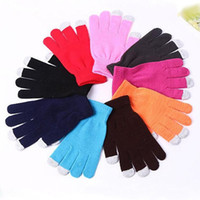 Wholesale DHL Freeshipping Knit Wool Touch Gloves for iPhone Touch Screen Gloves for iPad more comfortable Elastic free size