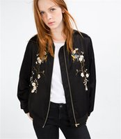 Wholesale 2016 Fashion Bird Plum Flower Embroidery Womens Bomber Jacket Baseball Ladies Pilots Outerwear Harajuku Black Coat