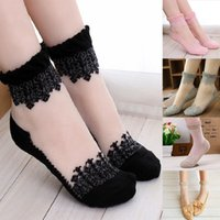 Wholesale 100 pairs Gorgeous Ultrathin Transparent Crystal Silk Lace Ruffle Ankle Socks Ultrathin Sheer Silk Cotton Elastic Socks Summer Via DHL