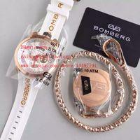 al por mayor reloj de oro de bolsillo de cuarzo-Reloj de alta calidad de la marca de fábrica de la marca de fábrica suiza de los juguetes del collar del bolsillo 18k Rose Bomberg BOLT-68 suizo 3540D Relojes del cuarzo del movimiento del cuarzo