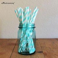 aqua paper straws - pieces Aqua Tiffany Blue Striped Paper Straws Vintage Aqua Drinking Straws Wedding Birthday Bridal New Year Pop Sticks