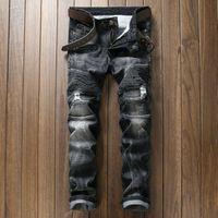 Wholesale European and Amenrican Brand Balmain Jeans Fashion Draped Slim Elastic Mens Jeans Motocross Style Balmain Biker Jeans