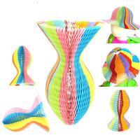 Precio de Escénico viaje-Magia novedad jarrón papel sombreros DIY plegable sombrero para las decoraciones del partido Funny Paper Caps Viajes Sun sombreros coloridos scenic Scots Cap
