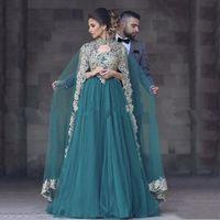 Wholesale 2017 Fashion Hunter Green V Neck Appliques Prom Dresses with Cape For Engagement Evening Gowns Plus Size Arabic Abendkleider Vestidos Abiye