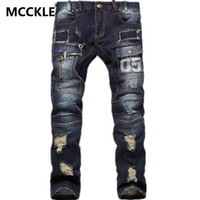 Wholesale Hot Sell Mens Ripped Jeans Cotton Brand Designer Denim Joggers For Men Distressed Jeans Pants With Holes Size Q1559