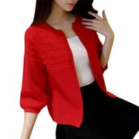 Wholesale Spring Autumn V Neck Knitting Cardigan Short Pullover Sweater Women Slim Long Sleeve High Waist Striped Shawl Sweaters