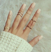 Wholesale 6pcs Fashion Unique Style Gold plated Stacking Midi Finger Knuckle Rings Cute Leaf Ring Set For Women Girls