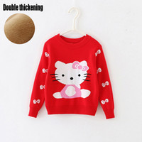 MU baby pullover pattern - Baby Kids Clothing girls Sweaters Pullover Spring Autumn Lolita style cat pattern Cotton long sleeve Knitwear Knitting for children