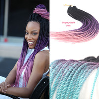 Wholesale Crochet Braid Hair inch g Three colors ombre mixed color Havana Mambo Crochet Twist Dreadlocks Braid Extensions Strands Piece