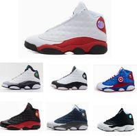 Wholesale 2017 high quality air retro XIII mens women Basketball Shoes Bred Navy Game hologram grey toe Flint Grey Athletics Sport Sneaker kids