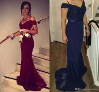 Wholesale 2017 New Burgundry Cheap Prom Dresses Off the Shoulder Appliques Beads Mermaid Modest Navy Blue Red Evening Party Gowns Robe De Soiree