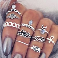 Wholesale New Punk Vintage Knuckle Rings Tribal Ethnic Hippie Stone Joint Ring Set for Women Set