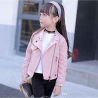 Wholesale Children New Style Autumn and Winter Girl Leather Jacket Standing collar Coat Add wool three color Western style