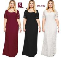Wholesale Europe and the United States fashion elegant short sleeved lace evening dress fat MM large women s dress