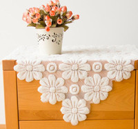 Wholesale modern Simple European Style Lace Table Cloth thick hollow bedside table cloth with Fabric art cloth