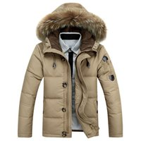 Wholesale Men S Jacket Winter New Men S Duck Down Jacket With Hooded Brand AFS JEEP Natural Fur Collar Sports Casual Jacket Coat