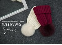 Wholesale Ladies knitted cap multi color optional thickening type The fox wool and knitting fabric Soft and comfortable