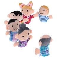 Venta al por mayor - Mini historia de la cama de la historia 6pcs Familia Finger Puppets Doll Toy Set Cute Gifts