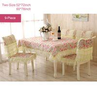 Wholesale 9 Piece Romantic Rural Table Cloth Tea Table Cloth Chair Cloth Chair Cushion Lace Flower Rose Bow Tablecloth Sets Rose
