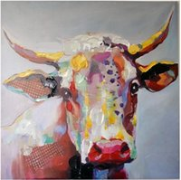 art cows - Abstract Cow Cartoon High Quality genuine Hand Painted Wall Decor Abstract Animal Art Oil Painting On Canvas ali M H