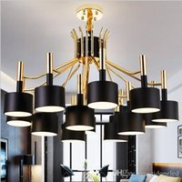 Wholesale 2016 Hot New Arrival luminaire suspendu Modern Led Chandelier For Living Room Dining Room Gold and Black Chandelier Fixtures