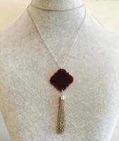 acrylic monogram necklace - Hottest Sale Trendy Monogram mm Quatrefoil Christmas Gift Jewelry For Women Fashion Pendant Personalized Acrylic Tassel Necklace