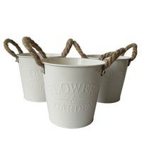 Wholesale 10Pcs D13 H12CM Iron Round Flower Tub tin box bonsai pot metal buckets Cheap garden pots