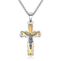 antique gold crucifix - 2016 New Fashion Heavy Metal Stainless Steel Antique Cross Crucifix Jesus Biker Pendant Necklace Punk Rock Biker Jewelry Silver Gold