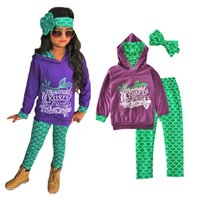 baby girl s top clothes - mermaid little girl clothing set autumn letter hoodies tops plaid pants bow headband kids baby clothes toddler girls clothing sets