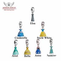 belle charm bracelet - Memnon Jewery Sterling Silver Dress beads Pendant Elsa Anna Cinderella Belle Snow White Ariel Charms Beads Diy Shealia Bracelets Jewelry