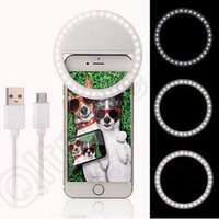 Wholesale LED Ring Selfie Light Supplementary Lighting Night Darkness Selfie Enhancing for Photo for iphone7 Samsung With Charging Cable CCA5329