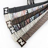 Wholesale 2016 hip brand ff belt designer belts for men women Cowskin Genuine leather gold silver black mc buckle belt