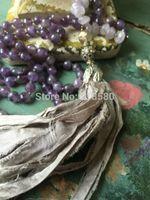 beaded sari - Knot Amethyst Beads NECKLACE Sari Silk Tassel Necklace
