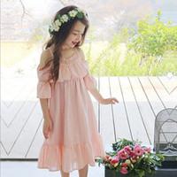 Precio de Faldas para las muchachas de los niños-2017 El nuevo vestido de la falda de Sweety de los niños del vestido del estilo del verano de la honda de la muchacha de los niños de la llegada embroma a princesa Lace Splicing el vestido 6 PC / porción B
