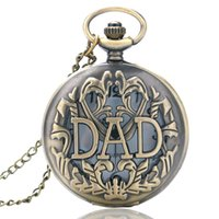 Wholesale-Antique DAD cadeau Brown Collier Quartz Hollow Pocket Watch Bronze Hommes Pappy Père Cadeau P05