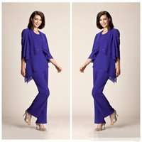 Wholesale Cheap Black Pants For Sale - 2017 Simple Chiffon Plus Size Purple Mother Of The Bride Pant Suits Summer Formal Evening Party Gowns For Women Cheap for sale