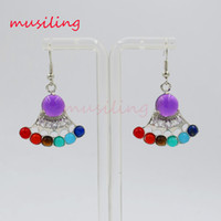 Wholesale musiling Jewelry Chakra Stone Drop Earrings Silver Plated Charms Sector Ear Accessories Fashion Jewelry For Women Gifts