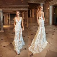 Wholesale 3D Floral Appliques Wedding Dresses Open Back Bridal Gowns Sweep Train Plus Size Mermaid Wedding Dress