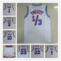 Wholesale White Tune Squad Jersey mens Space Jersey air dunk Embroidery MJ basketball Jersey