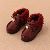 Wholesale New Winter Children Shoes kids Snow Boots for girls Breathable Sneakers For Kids Waterproof Fur Boot Flats PU Leather