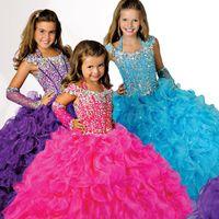 al por mayor niñas organza de encaje hasta-2016 Hermosa púrpura vestido de baile vestido de vestir para las niñas con cuentas de cuello halter con cordones hasta la espalda Organza volantes piso de longitud vestidos de niñas de flor
